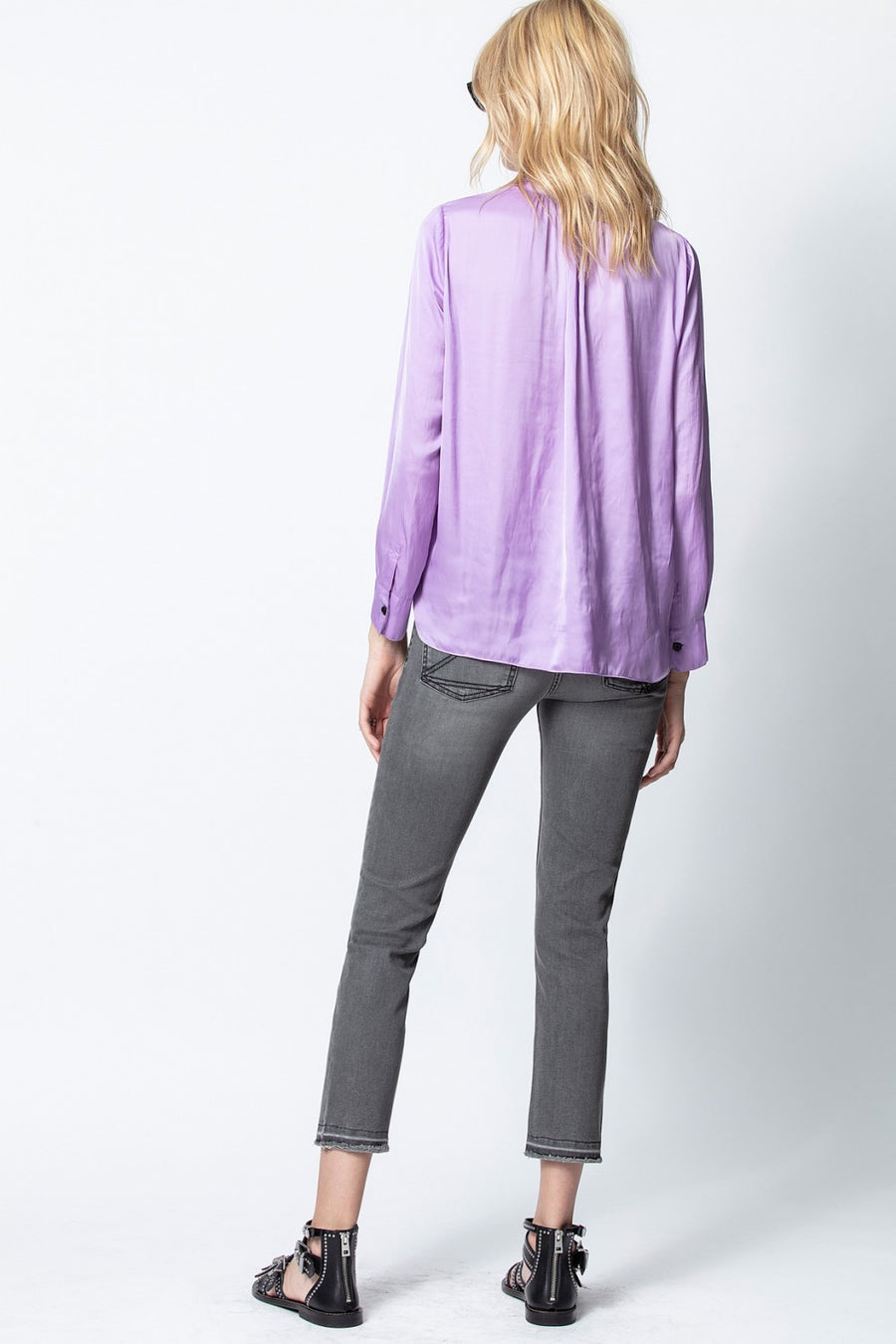 Zadig & Voltaire Tink Satin Top in Mauve