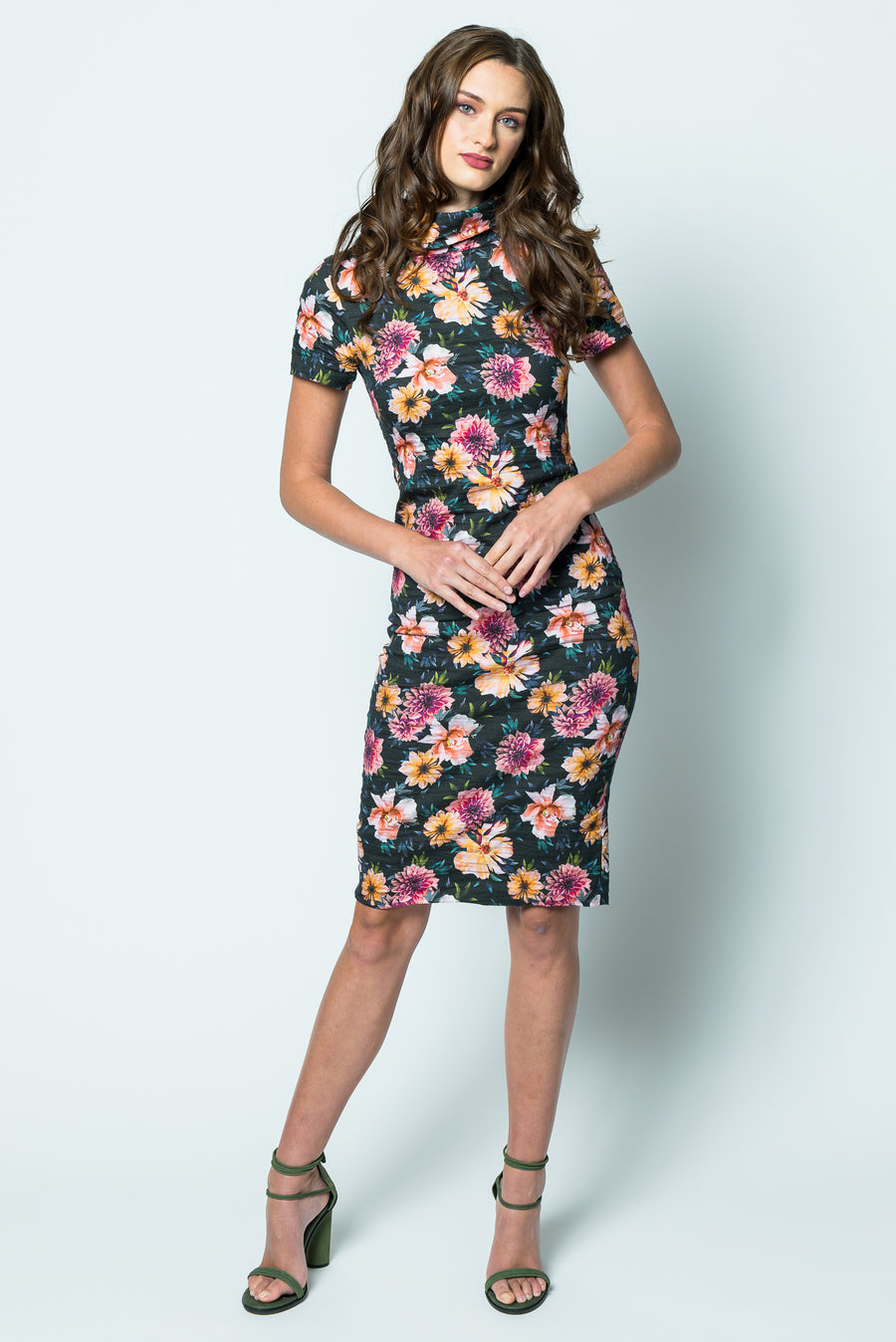 Nicole Miller Dahlia Bloom High Neck Dress