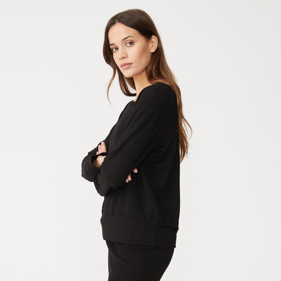 Monrow Crew Neck Sweatshirt in Black