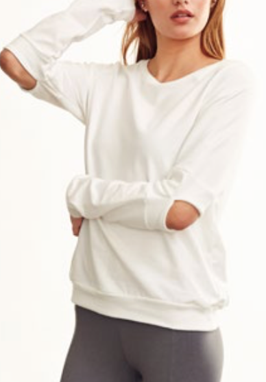 Estilo Cold Elbow Sweatshirt - Cream - Estilo Boutique