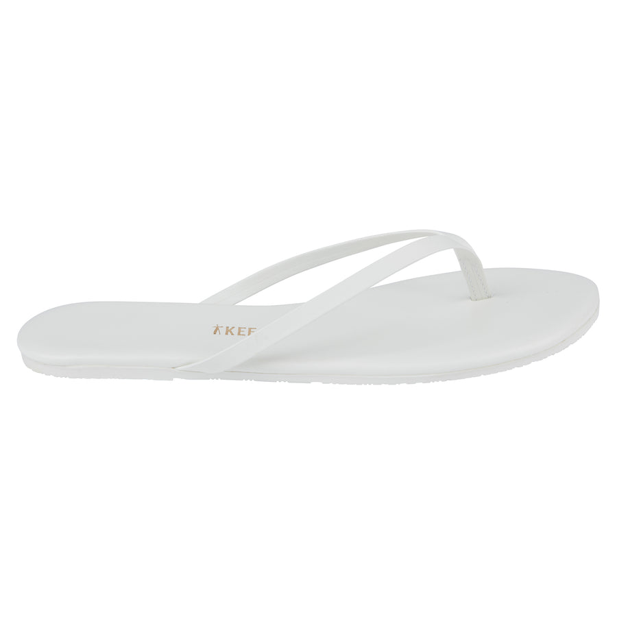 TKEES Solid White Flip Flops