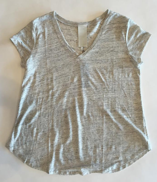 Heather Linen V Neck Tee - Estilo Boutique