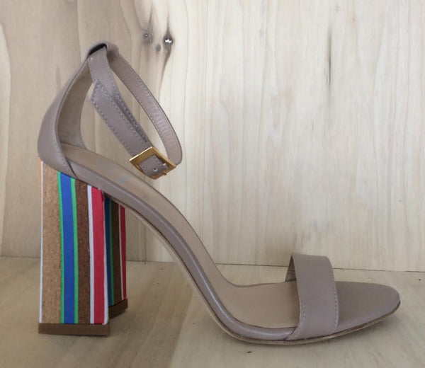 Dee Keller Zoey Sandal With Cork Heel In Tan
