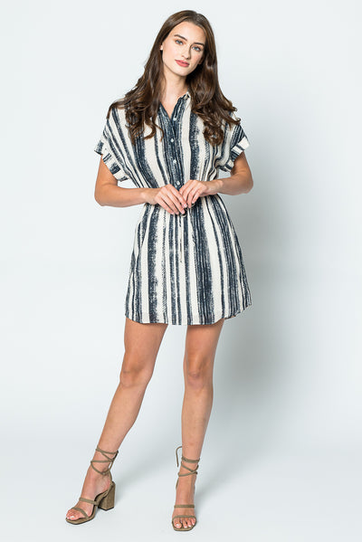 Lavender Brown Button Up Shift Dress
