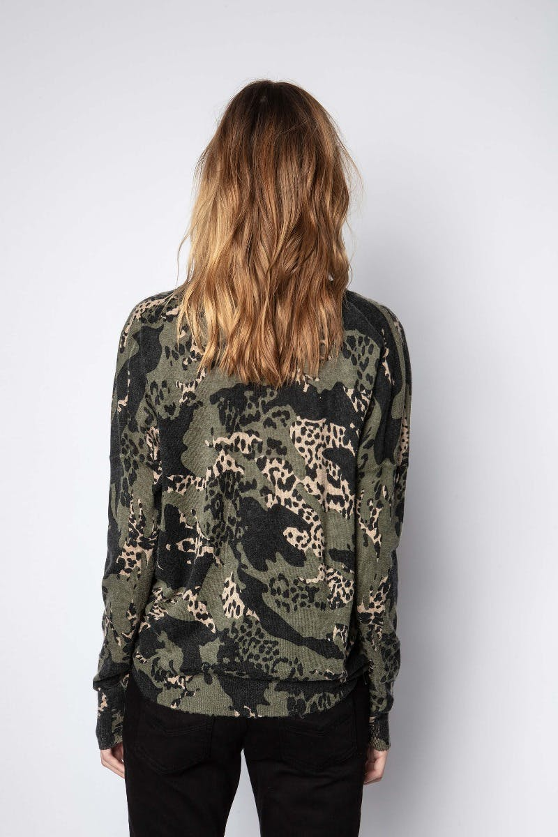 Zadig & Voltaire Brume Print Camou Cashmere Sweater