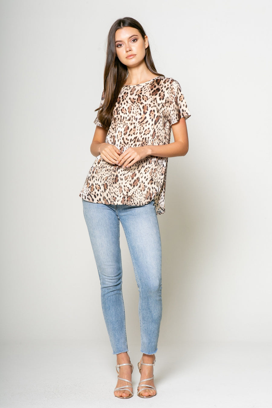 Lavender Brown Leopard Print Top