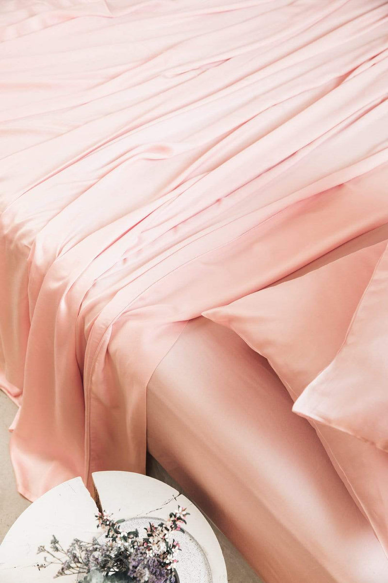 Ettitude Bedding Single Bamboo Lyocell Flat Sheet (Cloud pink)