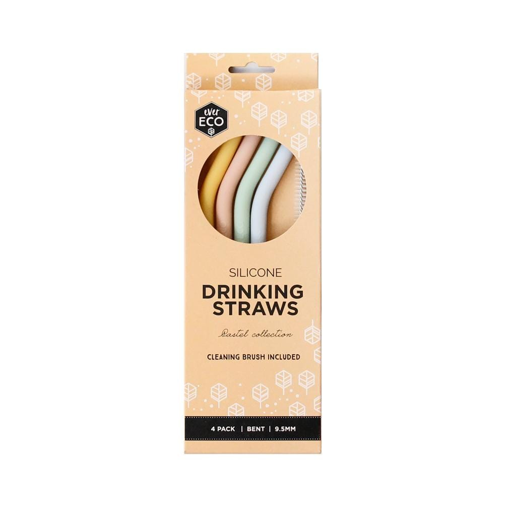 Ever Eco Drinkware Silicone Straws Bent (4 Pack)