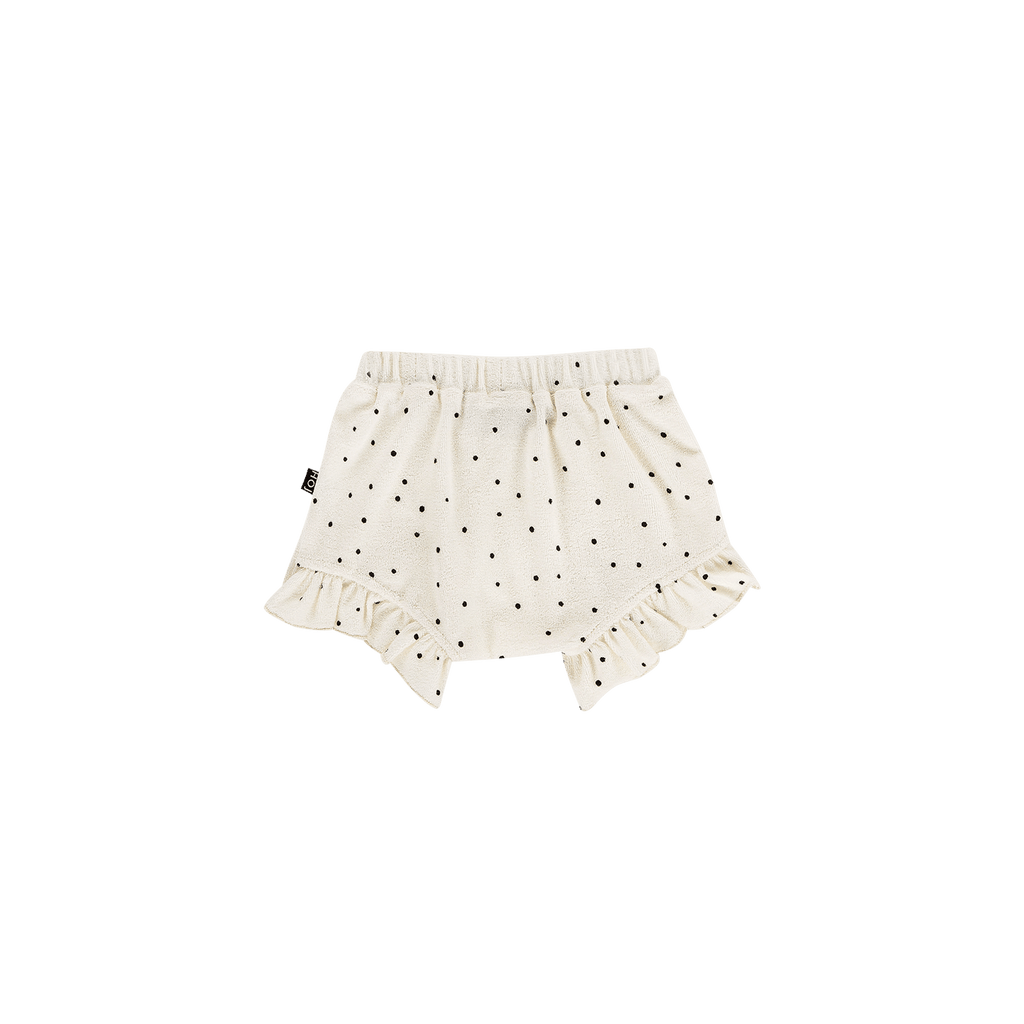 House of Jamie Bottoms Ruffled Shorts Cream Black Dots