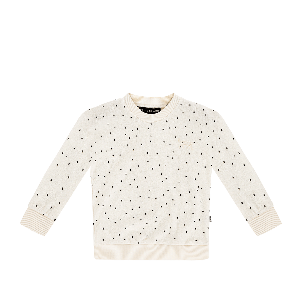 House of Jamie Cardigans & Sweaters Crew Neck Sweater Cream Black Dots
