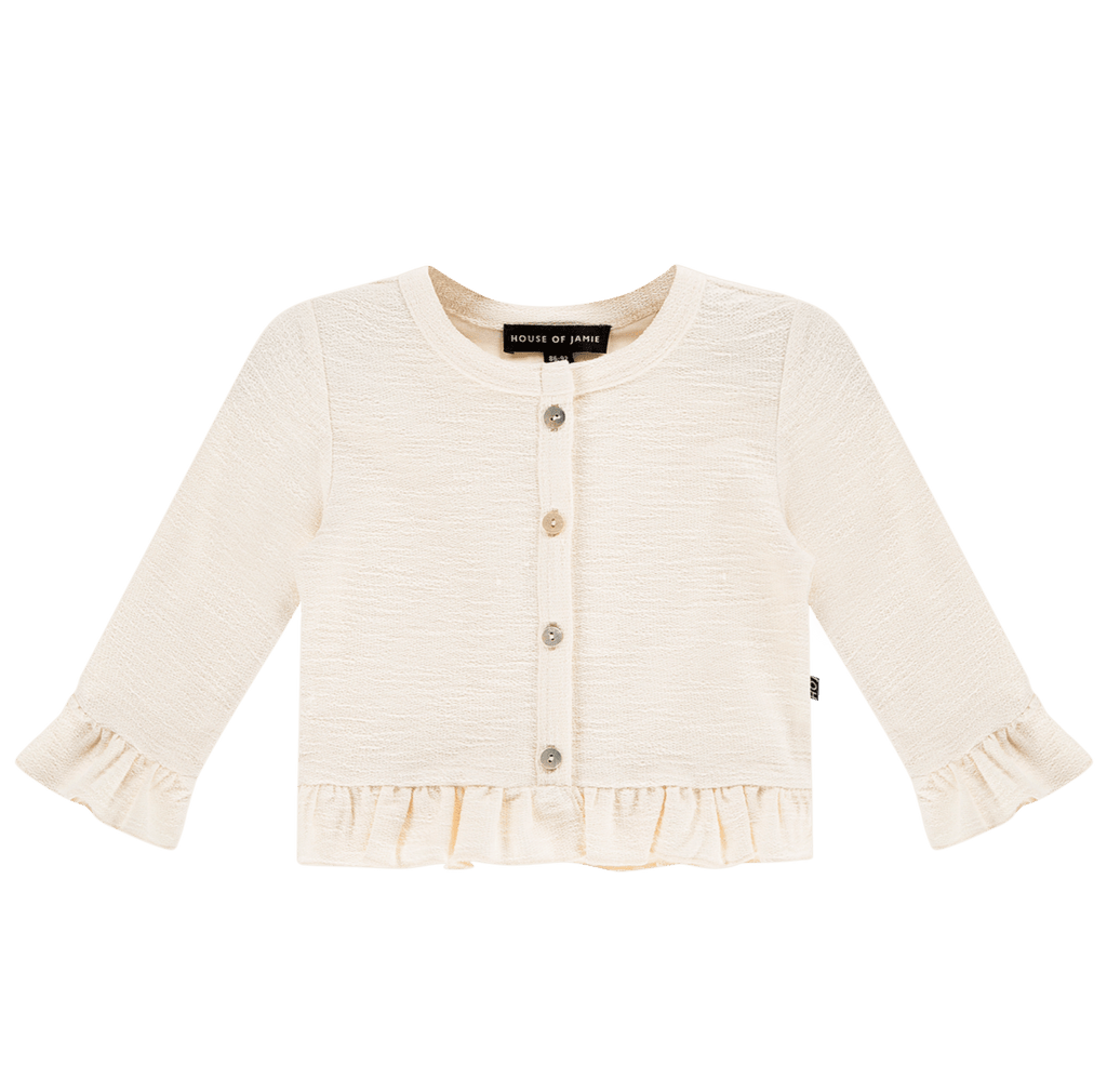 House of Jamie Cardigans & Sweaters Frill Cardigan Cream Rough Sweat