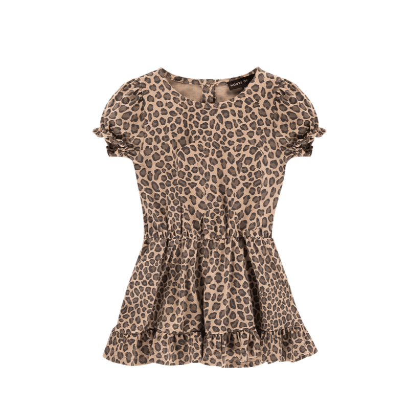 House of Jamie Dresses & Overalls Frill Dress Caramel Leopard