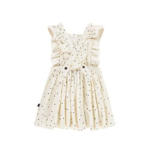 House of Jamie Dresses & Overalls Ruffled Salopette Dress in Cream Black Dots