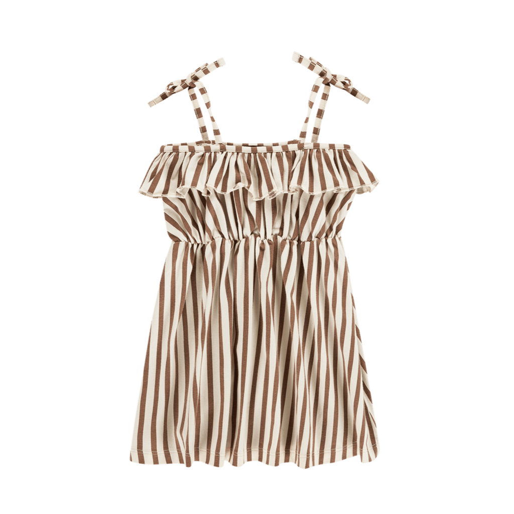 House of Jamie Dresses & Overalls Spaghetti Dress Toffee Stripes