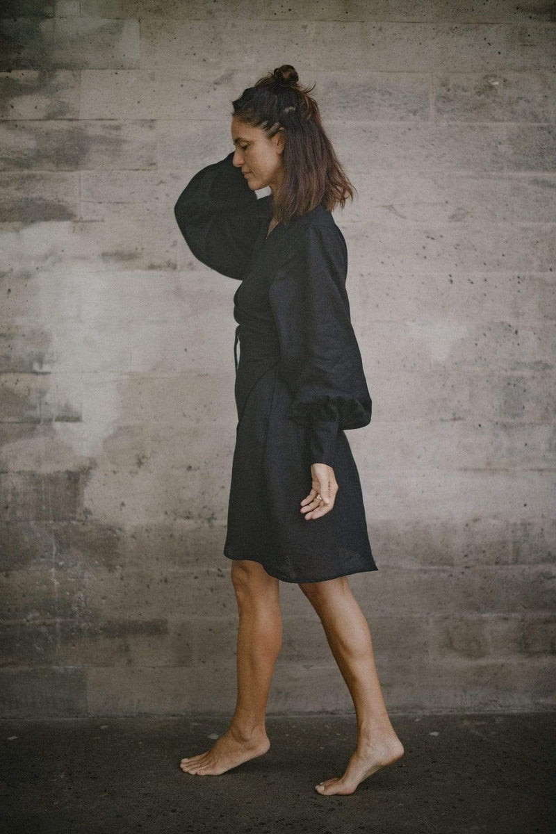 l u • c i e e Dresses & Overalls Sukee Linen Dress In Black