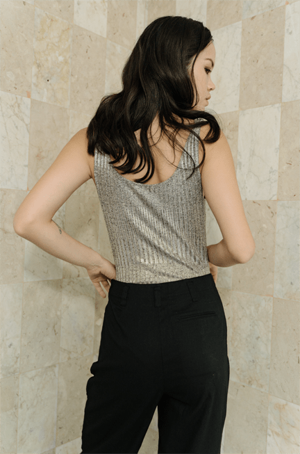Róu Bodysuits Cecilia Cowl Neck Bodysuit in Sliver Metallic Knit