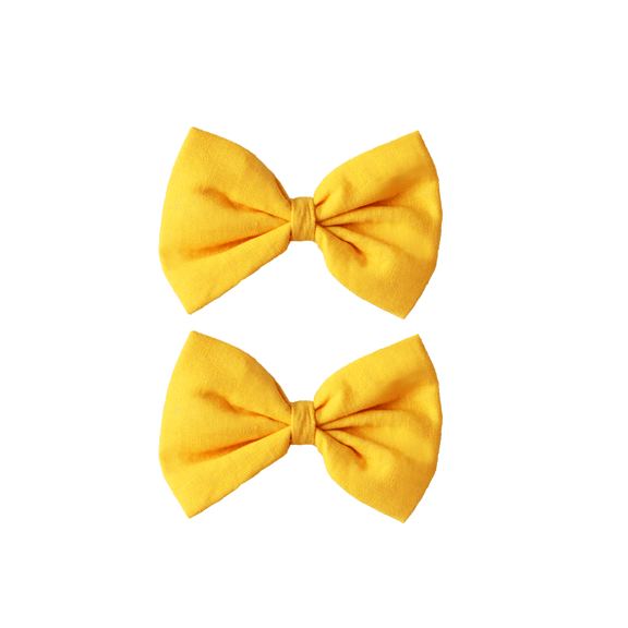 The House of Fox Accessories Bow Clips in Yellow