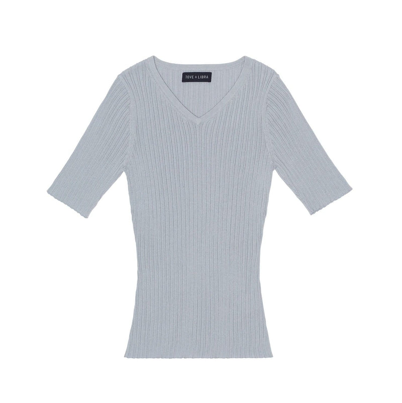 Tove & Libra Tops Essential V-neck Tee - Grey Pearl