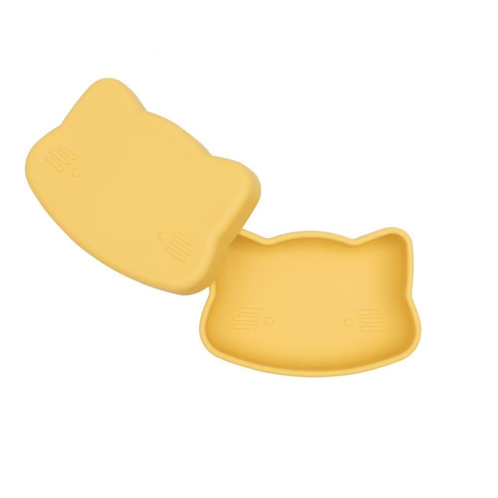 We Might Be Tiny Kid's Tableware Cat Snackie In Yellow