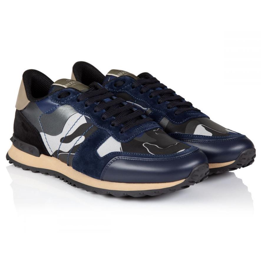 VALENTINO ROCKRUNNER CAMOUFLAGE REFLECTIVE TRAINER IN BLUE
