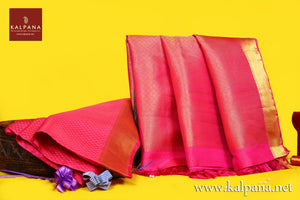 Kanjeevaram Handloom Pure Silk Saree with All Over Woven Texture and Woven Zari Border. The Palla is  Woven Zari. It comes with Self Colored Plain Unstitched Blouse with Zari Border. Perfect for Formal Wear.  Recommended for Festive season(s). Dry Clean Only