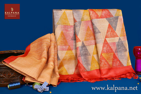 Discharge Printed Pure Tussar Saree