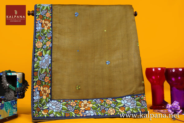 Parsi Embroidery Pure Tussar Saree