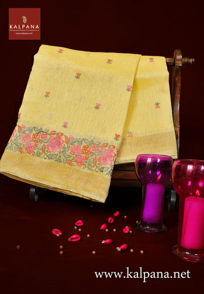 Floral Embroidery Pure Linen Saree
