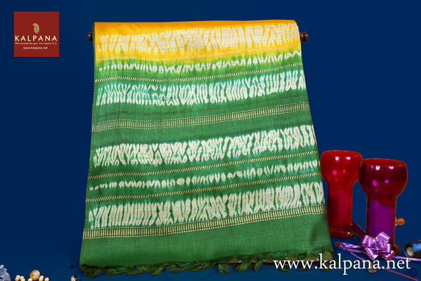 Bandhani Printed Pure Tussar Saree with All Over Motifs and Printed Border. The Palla is  Shibori. It comes with Contrast colored Printed Border Unstitched Blouse with Printed Border. Perfect for Semi Formal Wear.  Recommended for Autumn & Winter season(s). Dry Clean Only