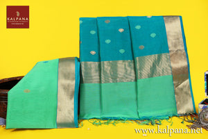 Maheshwari Handloom Pure Cotton Saree with All Over Motifs and Woven Zari Border. The Palla is  Woven Zari. It comes with Contrast Colored Plain Unstitched Blouse with Woven Border. Perfect for Work Wear.  Recommended for Summer season(s). Dry Clean Only