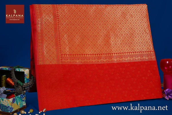 Benarasi Woven Blended Cotton Saree with All Over Jaal and Woven Zari Border. The Palla is  Woven Zari. It comes with Self Colored Plain Unstitched Blouse with Woven Border. Perfect for Formal Wear.  Recommended for all season(s). Dry Clean Only