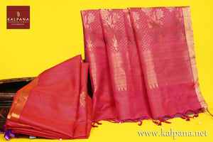 Handloom Pure Tussar Saree with All Over Motifs and Woven Zari Border. The Palla is  Woven Zari. It comes with Self Colored Plain Unstitched Blouse with Zari Border. Perfect for Semi Formal Wear.  Recommended for Autumn & Winter season(s). Dry Clean Only