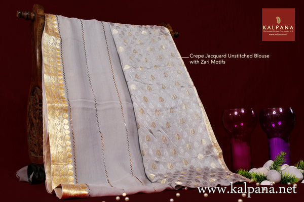 Mukaish Embroidery Pure Chiffon Saree