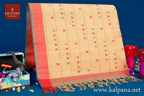 Handloom Pure Cotton Saree with All Over Motifs and Woven Border. The Palla is  Woven. It comes with Self Colored Woven Unstitched Blouse with Woven Border. Perfect for Casual Wear.  Recommended for Summer season(s). Dry Clean Only