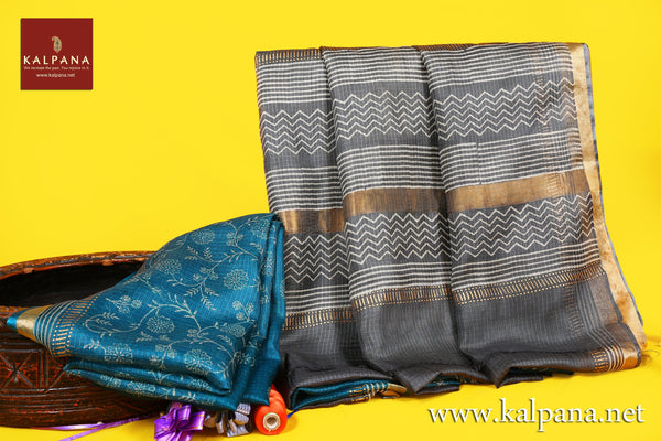 Discharge Printed Pure Silk Kota Saree with All Over Jaal and Printed Border. The Palla is  Printed. It comes with Contrast Colored Plain Unstitched Blouse with Printed Border. Perfect for Multi Occasion Wear. Printed Recommended for all season(s). Dry Clean Only