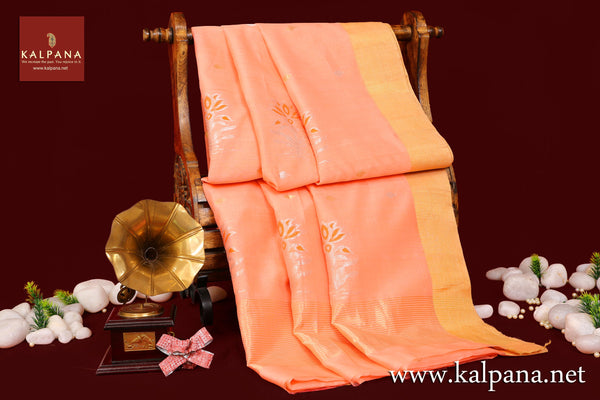 Chanderi Handloom Pure Cotton Saree with All Over Motifs and Woven Zari Border. The Palla is  Woven Zari. It comes with Self Colored Plain Unstitched Blouse with Zari Border. Perfect for Semi Formal Wear.  Recommended for Summer season(s). Dry Clean Only