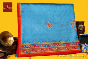Applique Embroidery Pure Tussar Saree with All Over Motifs and Embroidered Border. The Palla is  Embroidered. It comes with Contrast Colored Embroidered Unstitched Blouse with Embroidered Border. Perfect for Semi Formal Wear.  Recommended for Autumn & Winter season(s). Dry Clean Only
