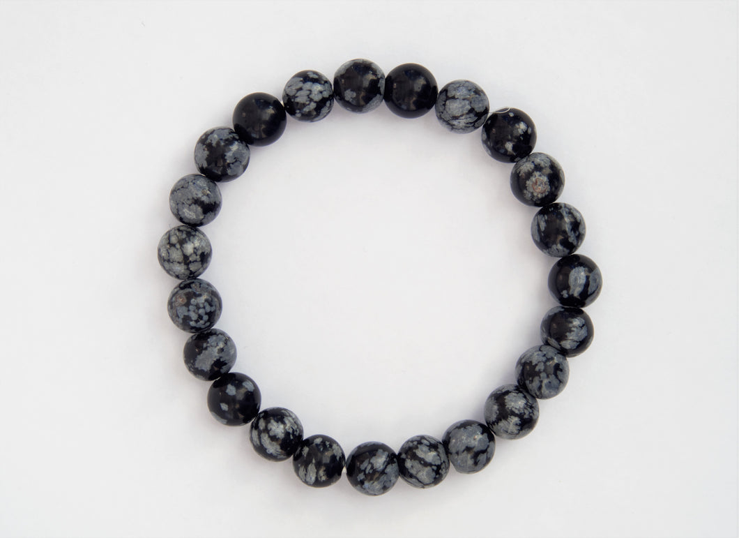 Bracelet boule 08mm Obsidienne Flocon de neige