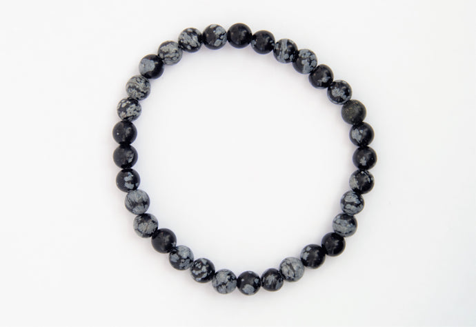Bracelet boule 6mm Obsidienne Flocon de Neige -bracelet en pierre