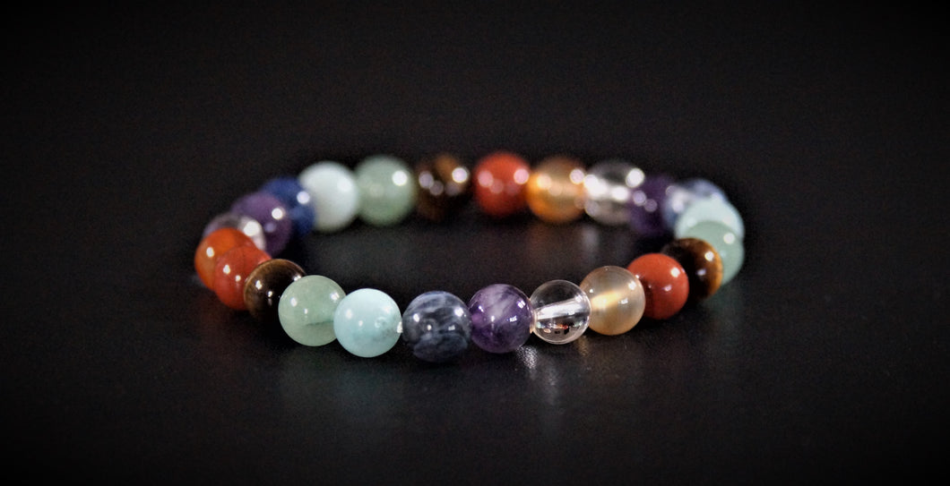 Bracelet 8 mm 7 Chakras Multicolore