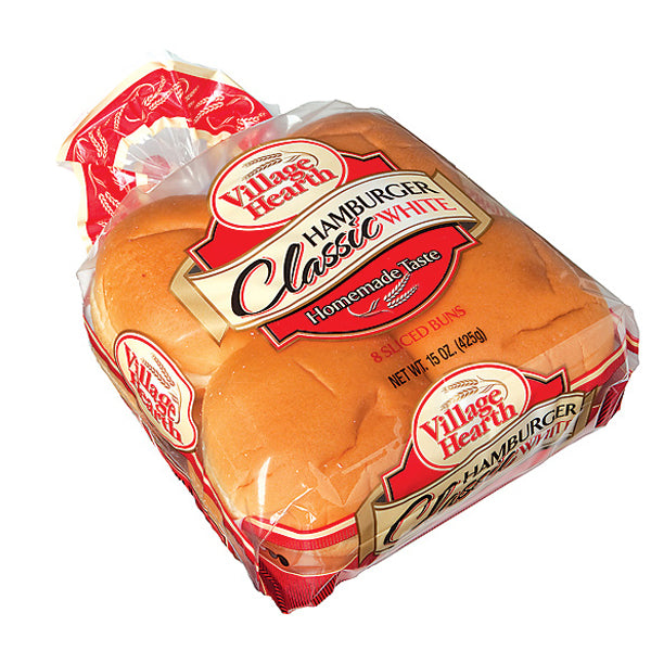 Village Hearth Classic Hamburger Buns - 8 Pack