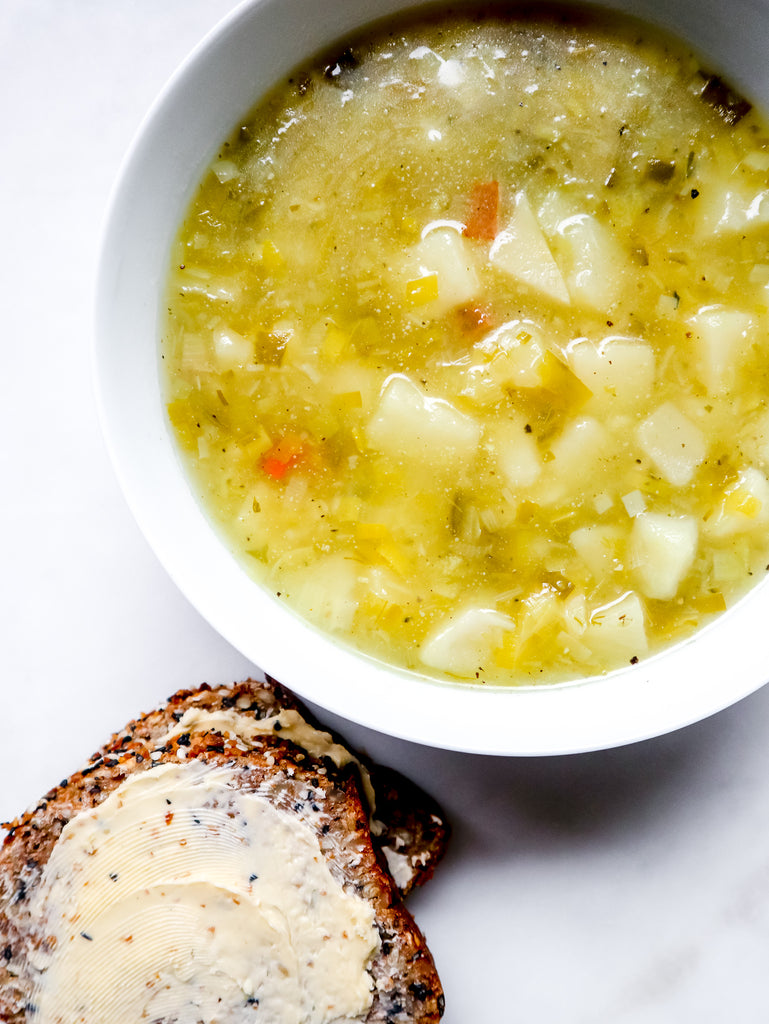 Seed Bread + Chunky Leek & Potato Soup