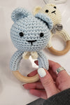 knitted baby Rattle - Light Blue