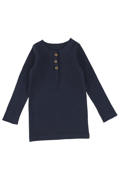 LL Ribbed long sleeve center button