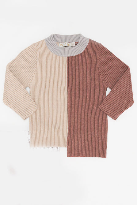 Two tone split sweater