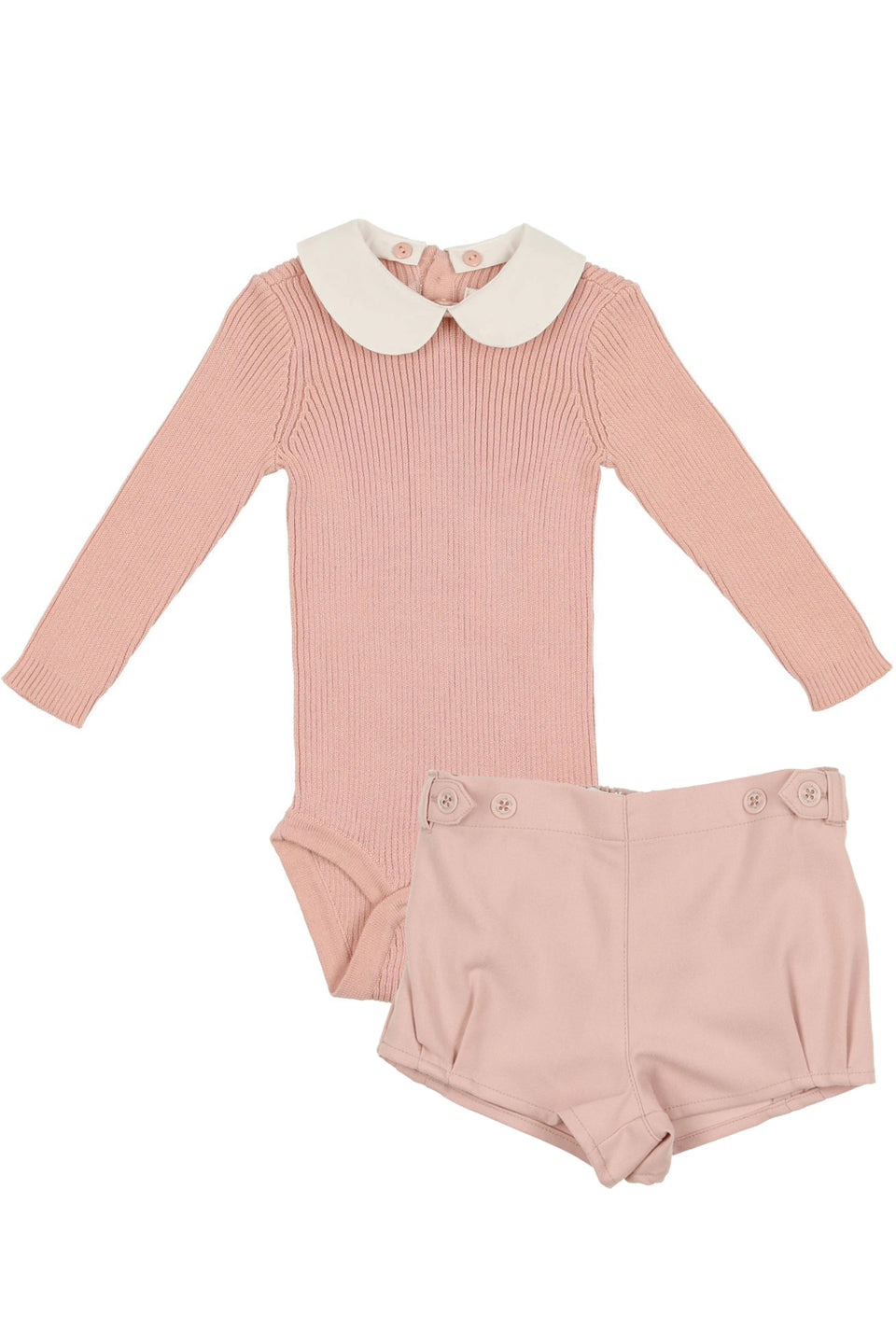 Cocoblanc sweater & wool shorts