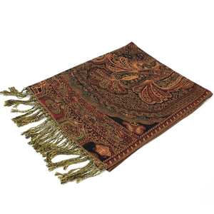Bohemian Pashmina Shawl   FW07B403 Dark Red/Black