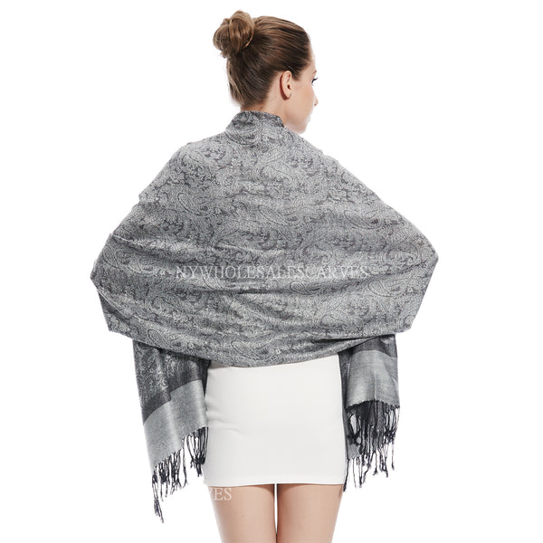 Whole Jacquard Pashmina FW1827 Light Grey