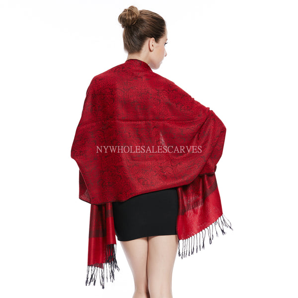 Whole Jacquard Pashmina FW1835  Red Black