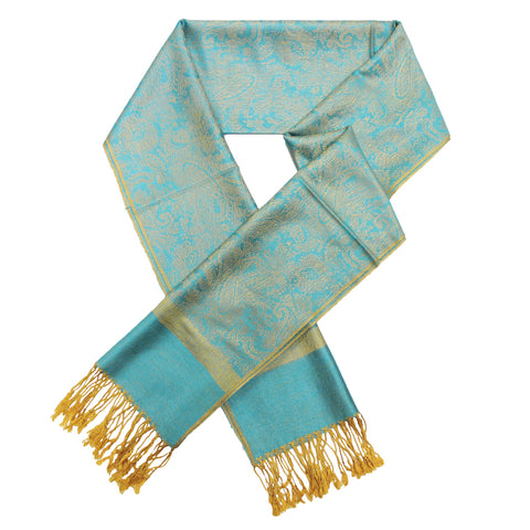 Whole Jacquard Pashmina FW1852  Blue Yellow